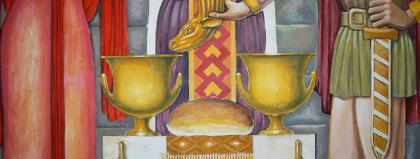 Fresco Thracian ritual of initiation through sanctification of bread, water and wine: